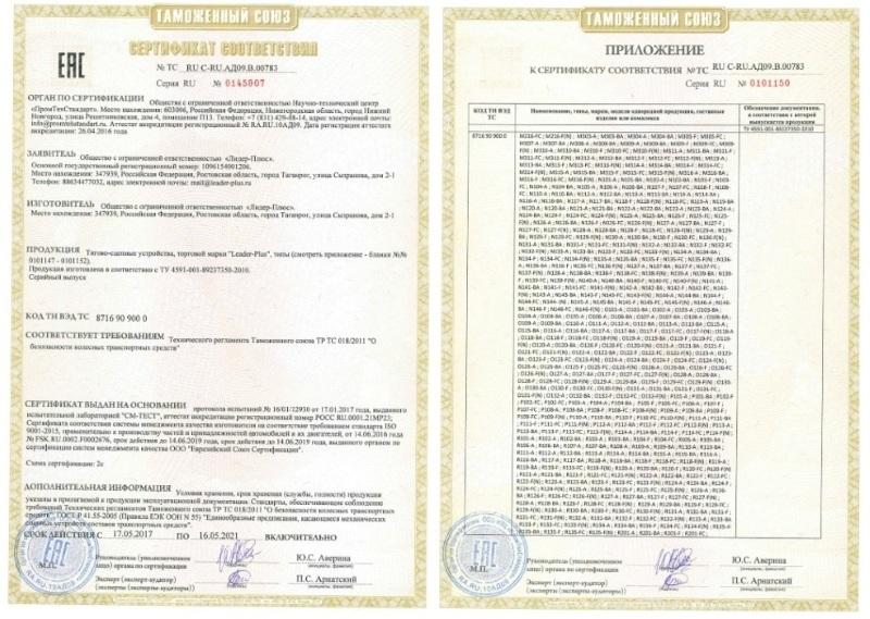 Сертификат соответствия на фаркопы Лидер+ и приложение к нему.