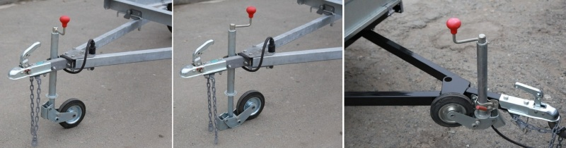 Три фотографии опорной ножки предприятия Курганские прицепы