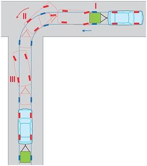 Управление легковым прицепом при въезде в ворота задним ходом (схема)